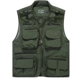 Wholesale Multi Pockets Vests - Wholesale- Free Shipping Mesh Shooting Vest Multi-Pocket Men Sleeveless Jacket Big Size 6xl Quick Dry Mens Casual Vests
