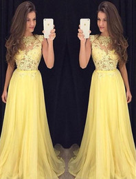 Wholesale Long Gowns Fancy Backs - .Prom Dress Long Yellow Lace 2018 Sheer High Neck Illusion Top Sexy Evening Gowns Chiffon Formal Fancy Special Occasions Dresses