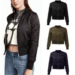Wholesale women quilted coat winter - Wholesale- ZANZEA Fashion Winter Warm Womens Quilted Zipper Jackets Slim Fit Short Bomber Jacket Coat Cotton Padded Outerwear Plus Size