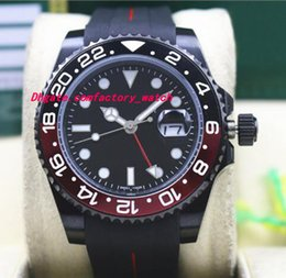 Wholesale Watch Pvd Movement - Top Quality Luxury II 116710B 40mm Ceramic Bezel BATMAN PVD Coating Black Red Rubber Bracelet Automatic Movement Men Watches New Arrival