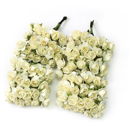 Wholesale Wedding Mini Paper Roses - Wholesale-12 Bouquets 144 Heads Mini Artificial Paper Rose Decorative Fake Flowers Home Wedding DIY Decoration Festive Party Supplies