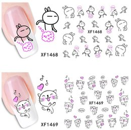 Wholesale Cute Nail Water Stickers - Cute Animal Nail Stickers Rabbit Cat Nail Tips Decals Water Transfer Designs Decor for Nails free shipping