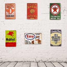 Wholesale Wholesale Man Cave - Wholesale- Metal Tin signs ESSO TEXACO GULF Mobilgas Dad's Garage Hot Road, Man Cave Home Decor Craft Wall Painting