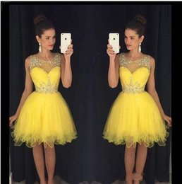 Wholesale Semi Jewels - Mint Crystal Yellow Scoop Neck Sleeveless Short Homecoming Dresses With Beaded Neckline Vestido 2017 A-Line Semi Prom Gowns 8th Grade Party