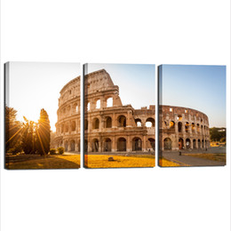 Wholesale Paintings Cityscapes - 2016 Promotion Painting Canvas Resim Tuval 3 Panels Cityscape Canvas Wall Art Modern Print On Decor Beautiful Bedroom Living Room Decoration