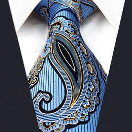 Wholesale Extra Long Mens Tie - P3 Paisley Blue Black Yellow Mens Neckties extra long size Ties 100% Silk Jacquard Woven Brand