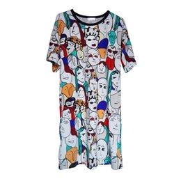 Wholesale Vestido Beige Casual - Wholesale- Plus Size Women 2016 New Cartoon Printed Long T Shirt Summer Casual Loose T Shirt Vestido