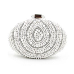Wholesale Oval Clutches - Wholesale- 2017 Pearls Clutch Bag Beaded Evening Bags Oval Shape Day Clutches Party Purse Wedding Bride Handbag Night Club evening Clutch