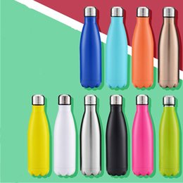 Wholesale Hot Water Drinks - Hot Sale Fashion Sport Vacuum Flasks Thermoses Double Walled Vacuum Insulated Water Bottle Cola Shape Stainless Steel Travel Water Bottle