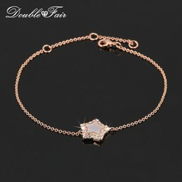 Wholesale Cubic Bangle Bracelets Wholesale - Shell Star Cubic Zirconia Party Bracelets & Bangles 18K Rose Gold Plated Fashion Brand Semi-precious CZ Diamond Jewelry For Women DFH168