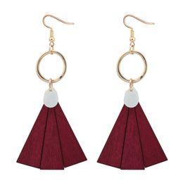 Wholesale Triangle Shaped Jewelry - Charm Triangle Drop Earrings Fan shaped Wood Shell Metal Dangle Earring For Women Sister Friend Fashion Vintage Ear Jewelry Gift