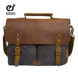 Wholesale 14 Laptop Shoulder Bag - Wholesale- ECOSUSI New Men's Vintage Handbag PU Leather Shoulder Bag Messenger Laptop Briefcase Satchel Bag Fit 14 inch Laptop