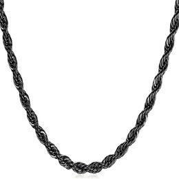 Pistola negra plateada online-Collar de cadena de cuerda de acero inoxidable de alta calidad 316L para hombres regalo de joyería de moda arma negra plateó collares largos