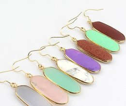 Wholesale Jade Earring Stones - Geometric Kendra Stone Earrings Natural Crystal Scott Chandelier Earring Various Colors Tonal Popular Jewelry for Lady