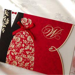 Inviti di seta online-All'ingrosso- Festive Red Shiny Lovers Silk Tie inviti di nozze con buste e buste, stampa gratuita