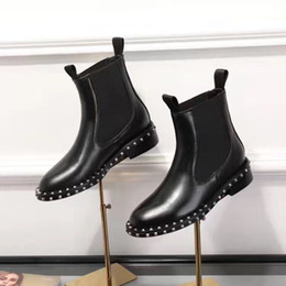 Wholesale fashion western boots women - sale! free ship! u753 40 black genuine leather stretch ankle flat short boots luxury designer fashion vogue celeb choices
