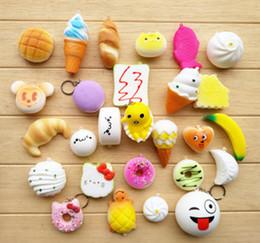 Wholesale Kawaii Squishies Wholesale - New 3D Kawaii Squishy Charm Rilakkuma Donut Cute Phone Straps Bag keychain Charms Slow Rising Squishies Jumbo Buns Pendant DHL free