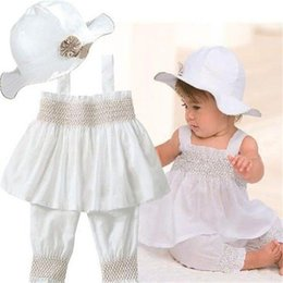 Wholesale Toddler Winter Hats For Girls - Wholesale- Summer Baby Outfit Toddler Baby Kids Ruffled Girl White Sling Tops+Shorts+Sun Hat 3pcs set for 0-3 Years
