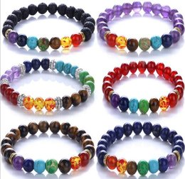 Wholesale Gem Beaded Bracelet - CSJA 8mm Women Men Natural Black Lava Rock Beads 7 Chakra Bracelets Healing Energy Stone Meditation Gem Stone Mala Bracelet