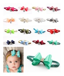 Wholesale Handmade Baby Headbands Bows Accessories - 2016 Baby Girls Hair Accessories Rhinestone Bows Glitter Headbands Princess Kids Hair Bands Handmade DIY Childrens Headdress 16 Colors
