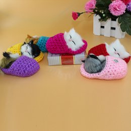 Wholesale Cute Blue Christmas Shoes - Cute Cartoon 10cm Simulation Sounding Shoe Kittens Cats Plush Toys Kids Appease Doll Girlfriend Christmas Birthday Gifts