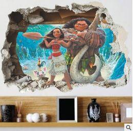 Wholesale Movies Life - Cartoon Movie Moana Maui Vaiana Wall Sticker For Kids Rooms 3d Effect Wall decals children PVC Art Decals Children's Room Decor