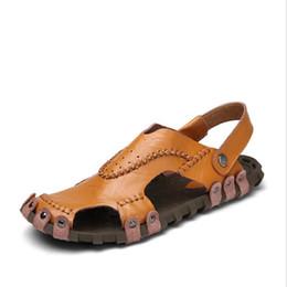 Wholesale C Strap Men - Plus Size 38-44 Men Sandals Cow Leather Fashion Summer Shoes Men Slippers Breathable Men's Beach Sandals Causal Shoes Genuine Leather