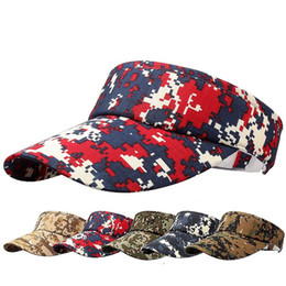 Wholesale Red Camouflage Military - 2017 Summer Unisex Visor Empty Top Camouflage Sun Hat Brim Blank Elastic Band Caps Beach UV Protection Military Hats