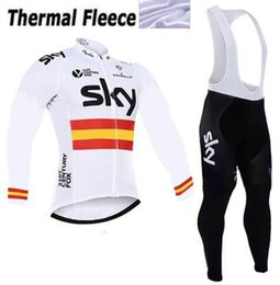 Wholesale Sky Cycling Jersey Long - 2017 SKY Team Men's Cycling Jersey Set Winter Thermal Fleece Bicycle Clothing Bicycle Clothing Long sleeves Ropa ciclismo Hombre and pants