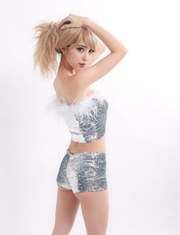 Wholesale Pole Dance Clothes - Sexy sequins shorts hot pants dance clothes DS low waist show clothing nightclubs Pole dancing clothing
