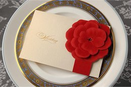 Wholesale Invitation Stamps - Hot Sale Personlized Wedding Cards Handmade Ivory with Big Red Flower Stamping Uneven Unique Wedding Invitations Cards Wedding Favors