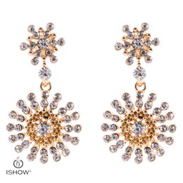 Wholesale Gold Crystal Snowflake Charm - New Wedding Bride Gold-color Crystal snowflake Drop Earrings Turnsole Floral Dangle Earrings Fashion Woman Gift Jewelry Boucle