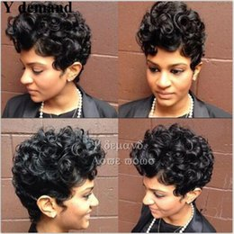 Wholesale Short Curly Synthetic Hair - Sexy Cool Short Curly Black African American Wigs Synthetic Full Wigs For Black Women None Lace Hair In Stock Y demand