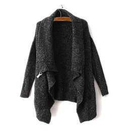 Wholesale Korean Knit Poncho - Wholesale-Autumn Winter Women Sweater Brand Design Black Long Sleeve Knitwear Korean Poncho Oversized Knitted Casual Cardigan Sweater 1641