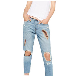 Wholesale Women Embroidery Jeans Wholesale - Wholesale- 2017 New Autumn women jeans,ripped hole jeans,mid waist pencil pants loose style Feathers Embroidery zippers vintage jeans C12