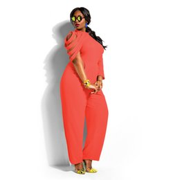 Wholesale Red Color Personality - Plardin Plus Size Women Jumpsuits And Rompers Pants Personality Irregular Sleeve Solid Color Chiffon Piece Three Color Pants