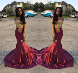 Wholesale Trumpet Charms - Charming African Style Off Shoulder Prom Dresses 2017 Gold And Burgundy Evening Gowns For Black Girls Long Sleeve Sweep Train Formal Dresses