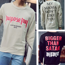 Wholesale Bigger Justin - Wholesale-Justin Bieber Purpose Tour Bigger Than Satan Justin Bieber Style Sweatshirt Men Women Cheap Sweatshirts Justin Bieber Clothes