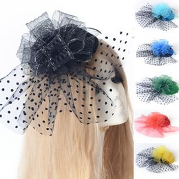 Wholesale Ladies Veiled Hat - 6 Colors lot Vintage Bridal Lady Handmade Netting Lace Fascinator Bride Wedding Hats Face Veils Cheap In Stock Free Shipping