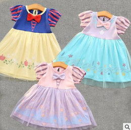 Wholesale Snow White Cartoon Girls - Halloween Costume Cartoon Snow White Princess Dress Girl Cartoon Birthday Party Dresses Baby Cotton Floral Tulle Dress Boutique Clothing