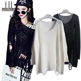 Wholesale Batwing Loose Fitting - Wholesale- MICHLEY Women's Batwing Sweaters Destroyed Ripped Slouchy Sweater Pullover Hollow Out Loose Fit Jumper Tops Knitwear top5091