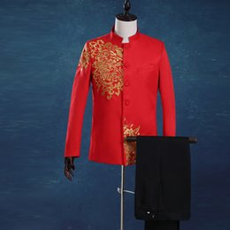 Wholesale Luxurious Palace - Wholesale- Luxurious Gold Embroidery Bridegroom Groomsmen Suits Men Vintage Red Chinese Collar Tunic Suits Men Palace Suit Black White Blue