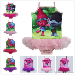 Wholesale Tutu Swimsuits For Girls - 2017 Kids One-Piece Swimsuit Trolls Caroon Swimming Clothes +Bathing Cap Girls Summer Tutu Skirt Swim Bikini For 3-9T