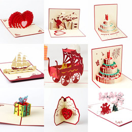 Wholesale Valentines Day Cards New - New 3D Handmade Card Birthday Valentines wedding Day Card Cake Cutting Stereo Greeting Cards For Birthday Party Greeting Card As Gifts