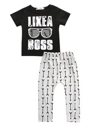 Очки для новорожденных онлайн-Wholesale- Baby boy clothes 2016 summer kids clothes sets t-shirt+pants suit clothing set Glasses Printed Clothes newborn