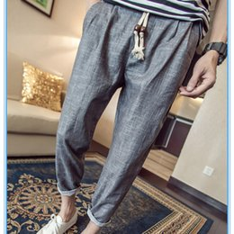 Wholesale Linen Drawstring Pants - Wholesale- 2016 Fashion Linen Pants Men Casual Trousers Mens Simple Ankle-length Straight Pants Solid Brand Clothing Large Size M-5XL P310