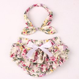 Wholesale Wholesale Kids Diaper Covers - 2017 NEW ARRIVAL baby girl kids toddler 2piece set cotton rose floral bloomers shorts short pants Beige diaper covers + bowknot headwrap INS
