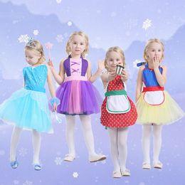 Wholesale Yellow Apron Wholesale - Girls Snow White Belle Rapunzel Princess Apron TuTu Dress Dot Tulle Lace Up Bubble Skirts Cosplay Costume Pinafore Dresses