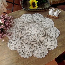 """Wholesale Floral Table Runners - Wholesale- 26"""" Round Handmade Crochet Doily Floral Table Cloth Centerpiece Runner Doilies Cup Mat Dinnerware Decor Placemat Pastrol Style"""