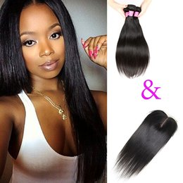 Wholesale Malaysian Hair 32 Inches - 100% Unprocessed 8A Straight Hair 3 Bundles with 4x4 Lace Closure Brazilian Mongolian Indian Malaysian Peruvian Cambodian Virgin Hair Wefts